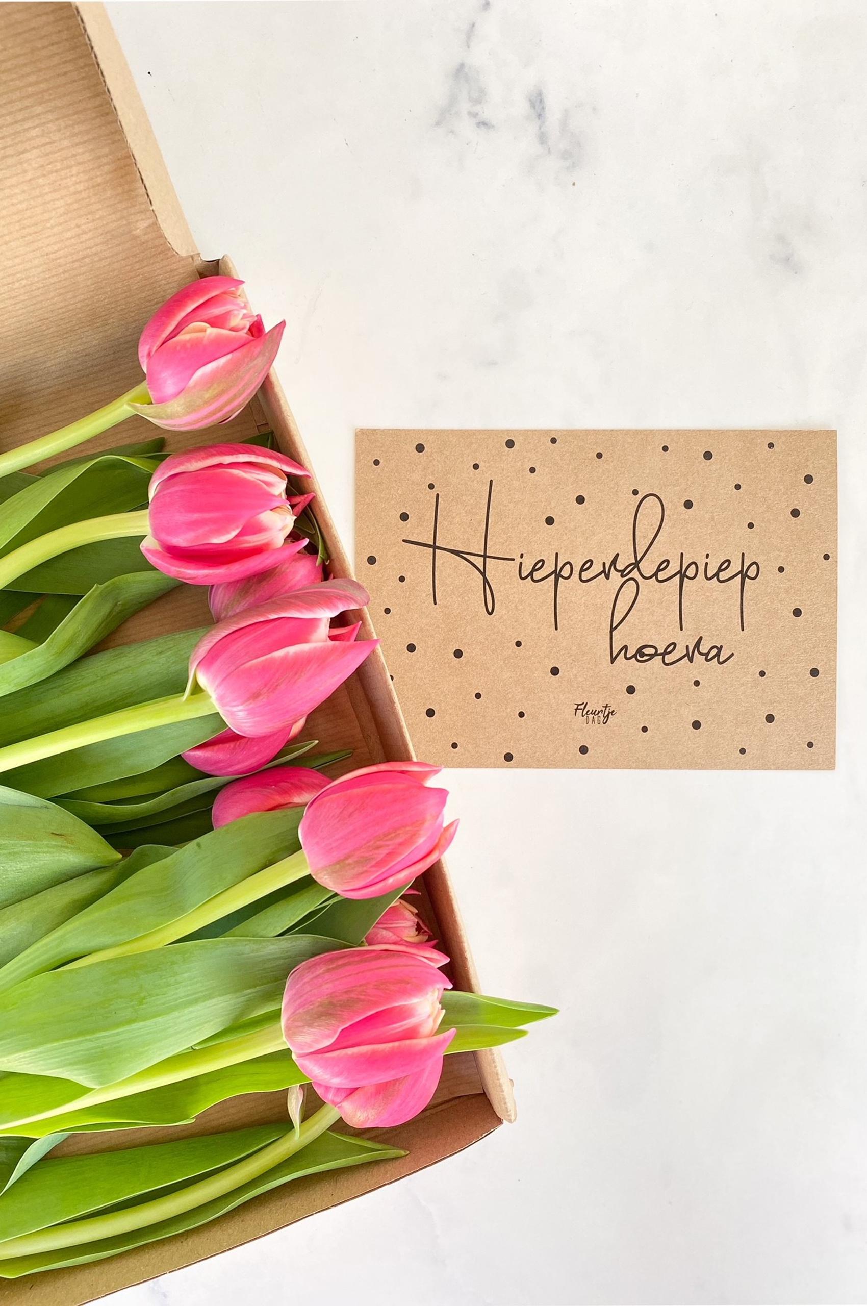 fleurtjedag brievenbusbloemen tulpen waarderingspakketjes cadeau collega verjaardag